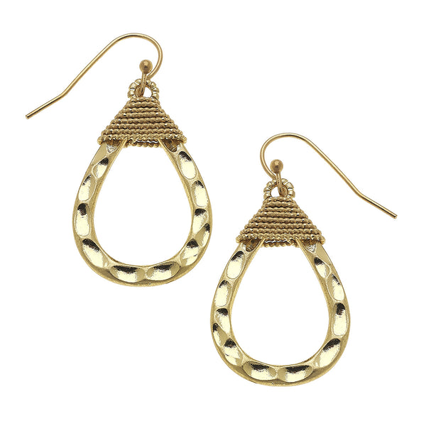 Wire Wrapped Teardrop Earrings in Worn Gold by Crave