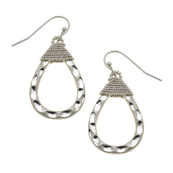 Wire Wrapped Teardrop Earrings in Worn Silver by Crave