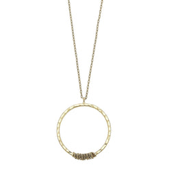 Wire Wrapped Circle Pendant Necklace in Worn Gold by Crave