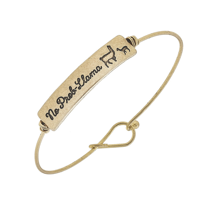 No Prob-Llama Bar Bangle in Worn Gold by Crave