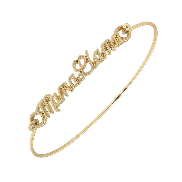 Script Mama Llama Bar Bangle in Worn Gold by Crave