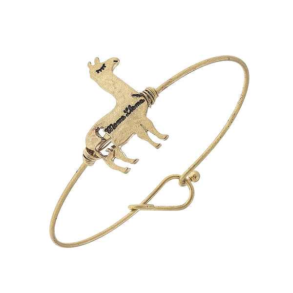 Mama Llama Charm Bar Bangle in Worn Gold by Crave