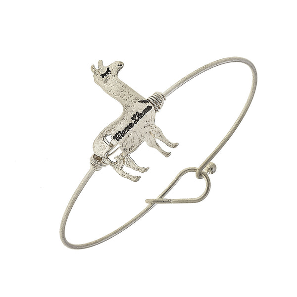 Mama Llama Charm Bar Bangle in Worn Silver by Crave