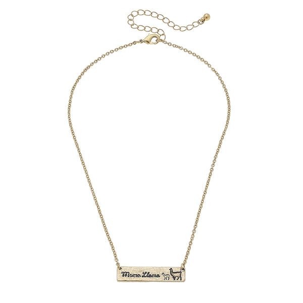 Mama Llama Bar Necklace in Worn Gold by Crave