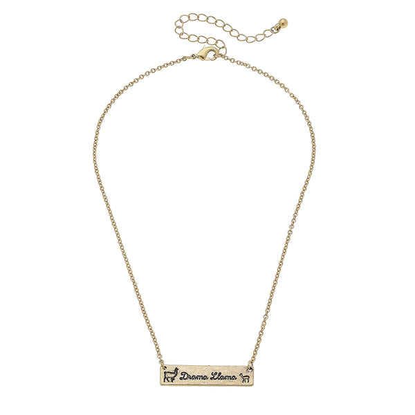 Drama Llama Bar Necklace in Worn Gold by Crave