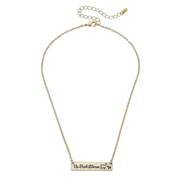 No Prob-Llama Bar Necklace in Worn Gold by Crave