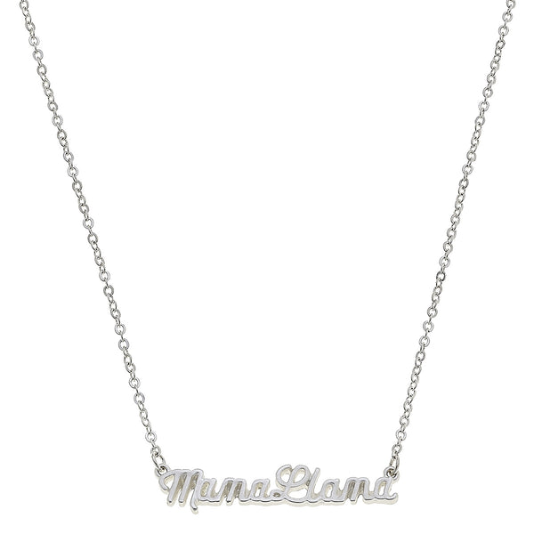 Script Mama Llama Necklace in Worn Silver by Crave
