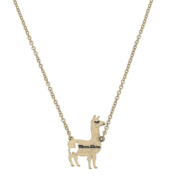 Mama Llama Charm Necklace in Worn Gold by Crave
