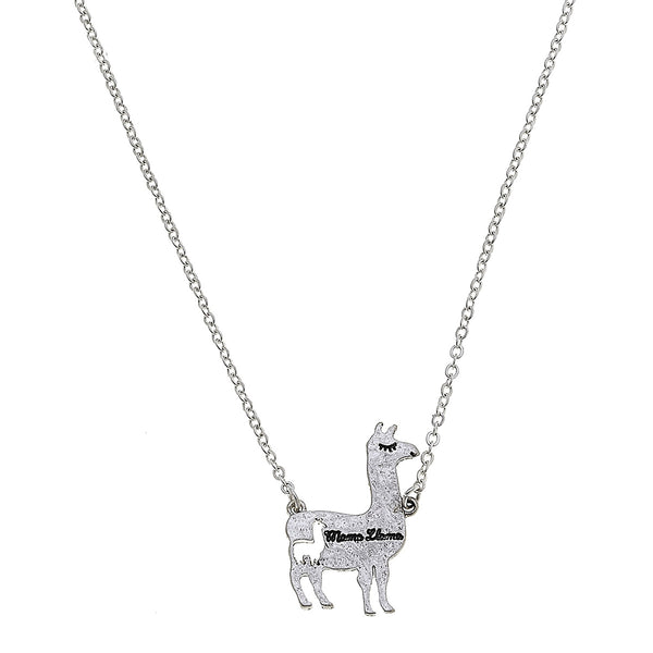Mama Llama Charm Necklace in Worn Silver by Crave