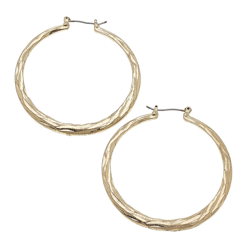 Size 5 Hammered Click Back Hoops in Worn Gold by Crave