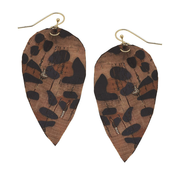 Leopard Print Cork Leaf Earring by Crave