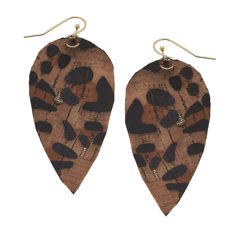 19719E-LEO Leopard Print Leaf Earring by Crave