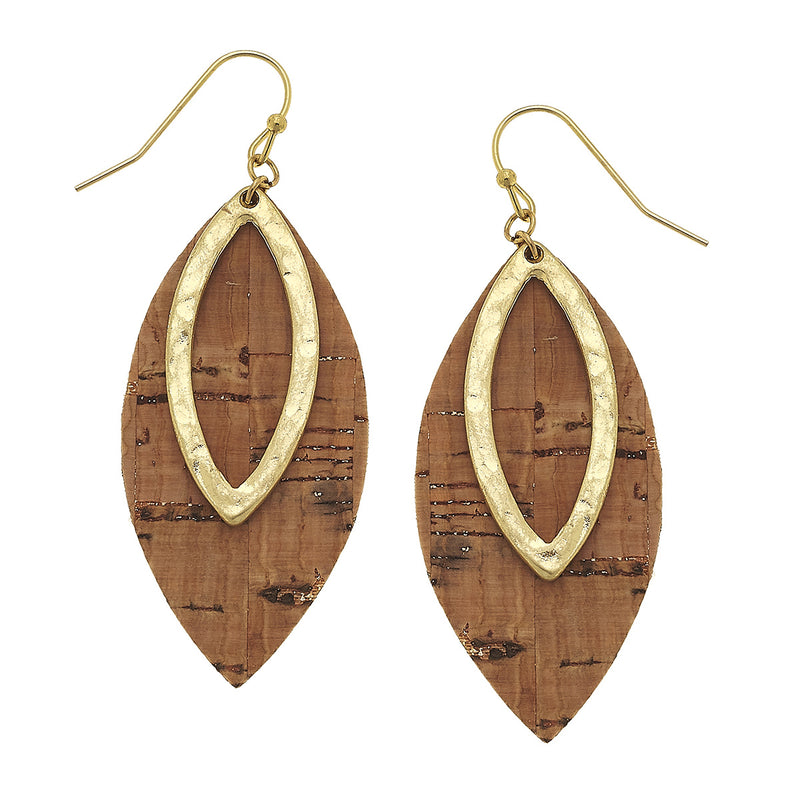 Cork Marquis Earrings in Worn Gold by Crave