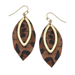 Leopard Print Cork Marquis Earring by Crave