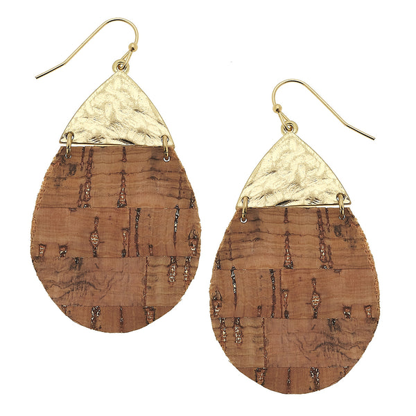 Cork Hinged Teardrop Earring in Worn Gold by Crave