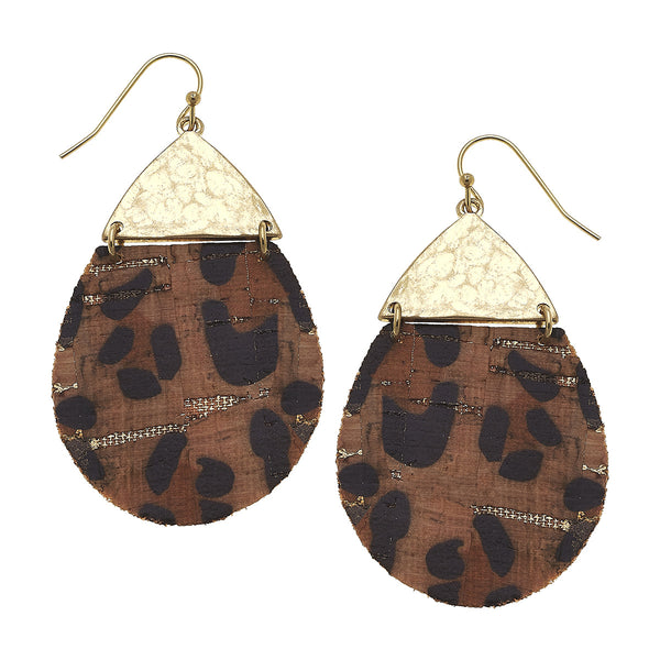 Leopard Print Cork Hinged Teardrop Earring by Crave
