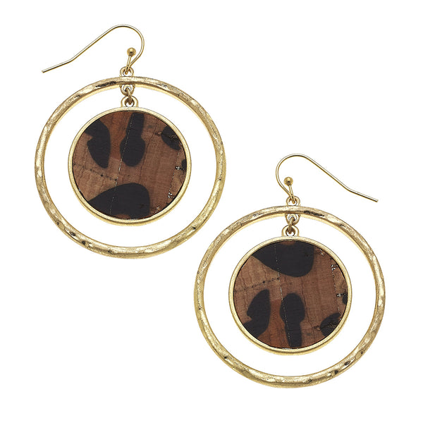 Leopard Print Cork Disc Orbital Earrings in Worn Gold by Crave