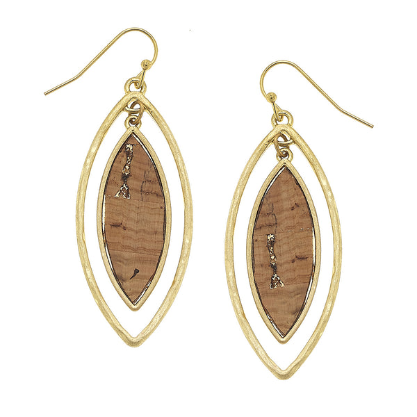 Cork Marquis Orbital Earrings in Worn Gold by Crave