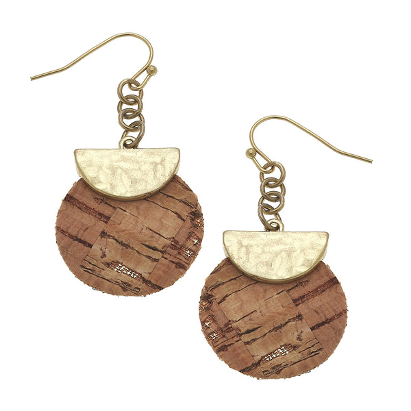 Cork Disc Drop Earrings in Worn Gold by Crave