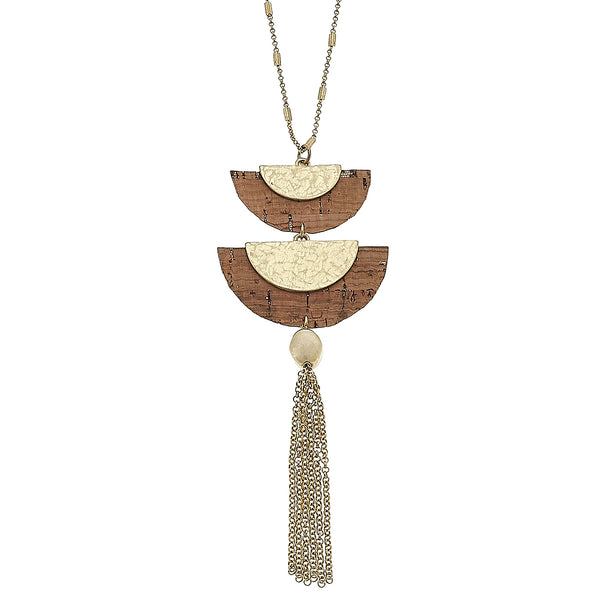 Cork Double Half Moon Tassel Pendant in Worn Gold by Crave