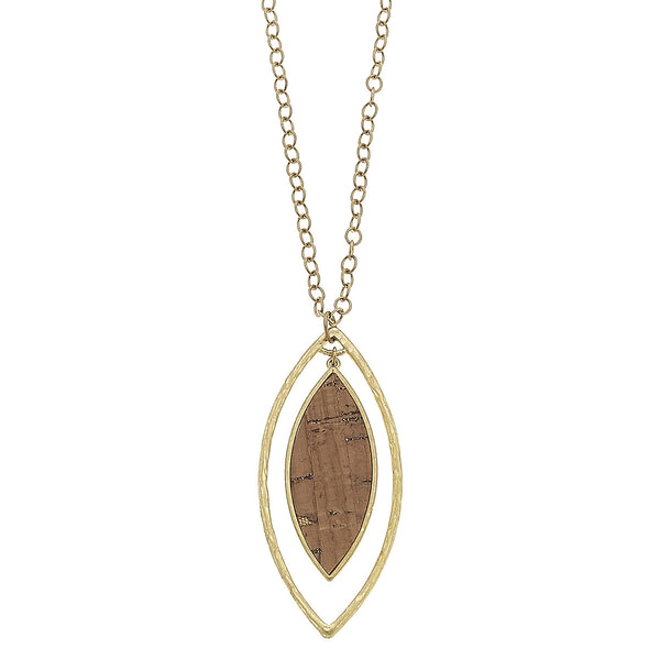Cork Orbital Marquis Pendant in Worn Gold by Crave