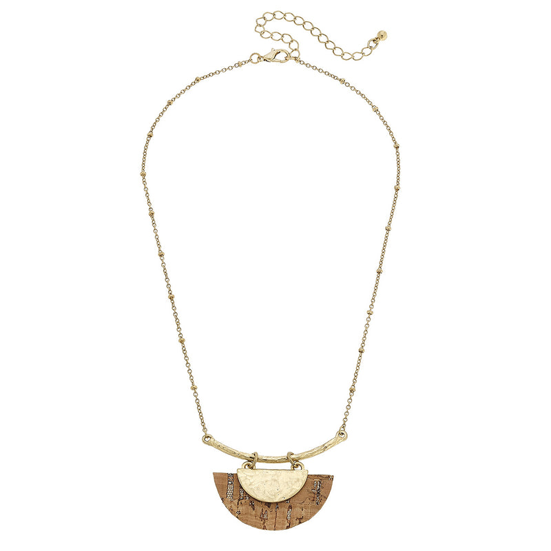 Cork Half Moon Bar Necklace in Worn Gold by Crave