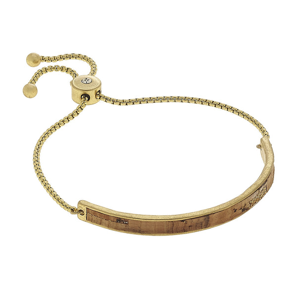 Cork Curved Bar Bolo Bracelet in Worn Gold by Crave