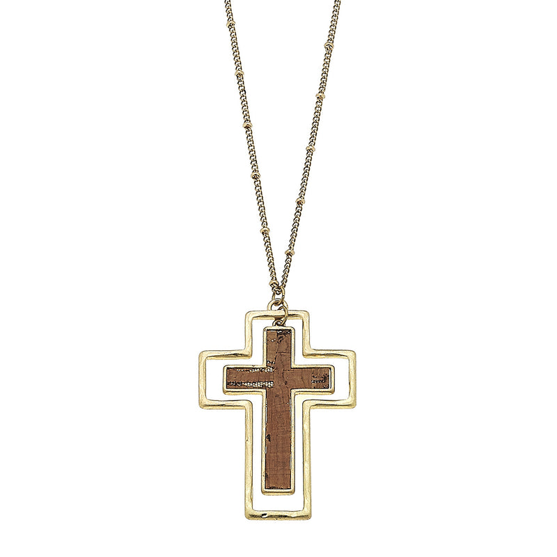 19742N-GD Cork Cross Pendant by Crave