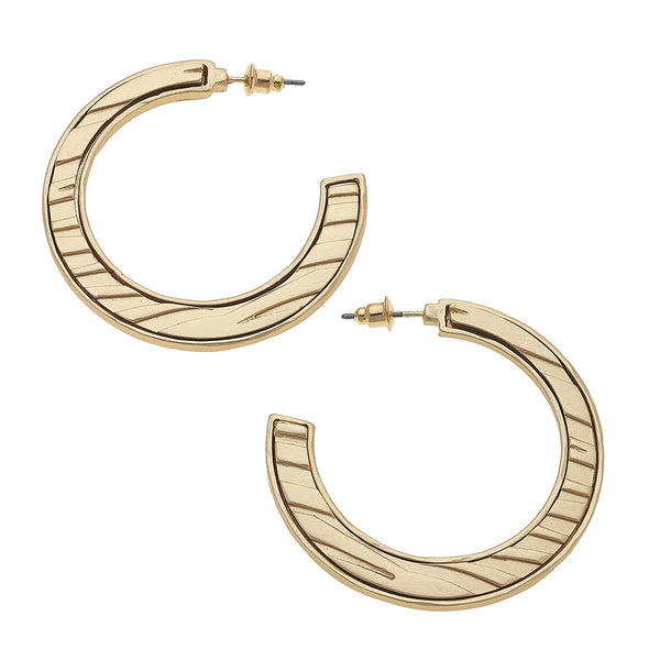 19750E-GD Metal Gold Animal Print Hoop Earrings by Crave