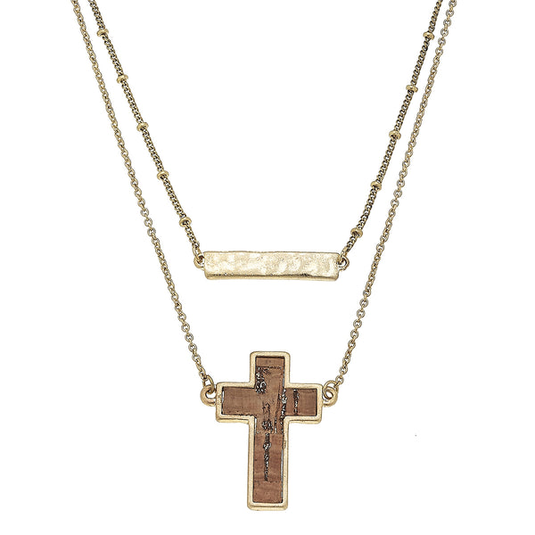 19770N-GD Cork Cross Layered Necklace by Crave