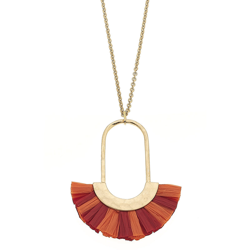 Eden Raffia Pendant Necklace in Coral