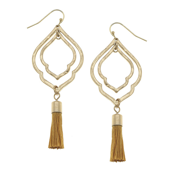 Moroccan Mustard Tassel Earrings by Crave