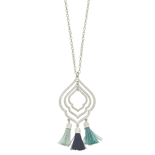 Blue Tonal Tassel Moroccan Necklace