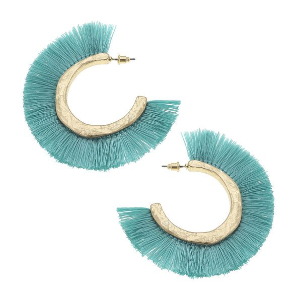 19823E-AQ Aqua Raffia Fringe Hoop Earrings by Crave