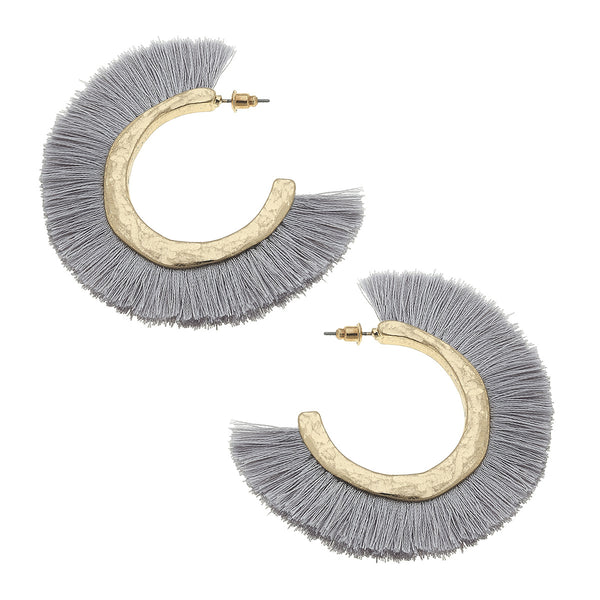 19823E-GY Hoop Earrings with Grey Raffia Fringe by Crave