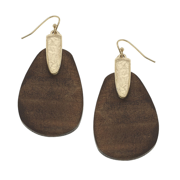 Wood Teardrop Earrings in Worn Gold by Crave
