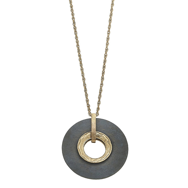 Wood Circle Pendant Necklace in Grey by Crave