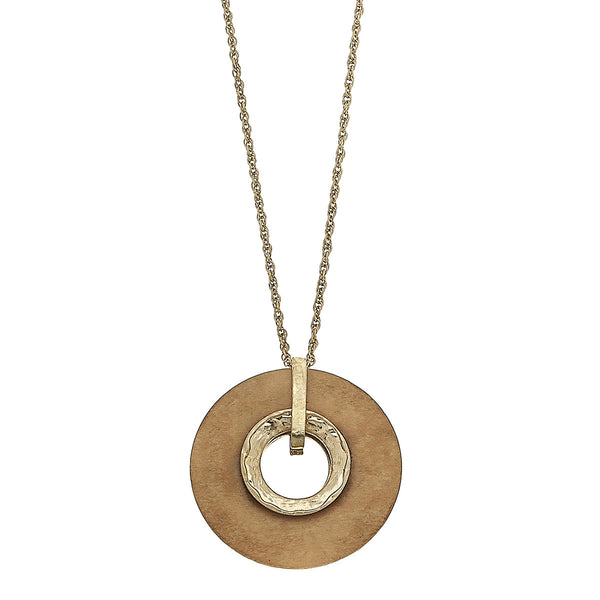 Wood Circle Pendant Necklace in Ivory by Crave