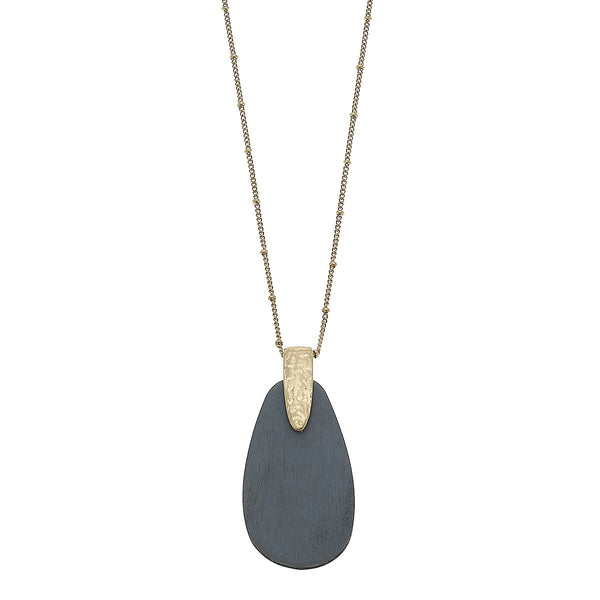 Grey Wood Teardrop Pendant Necklace in Worn Gold by Crave