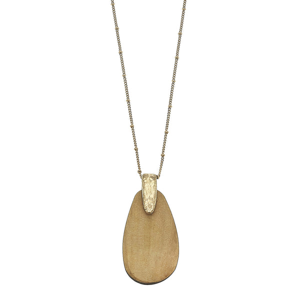 Ivory Wood Teardrop Pendant Necklace in Worn Gold by Crave
