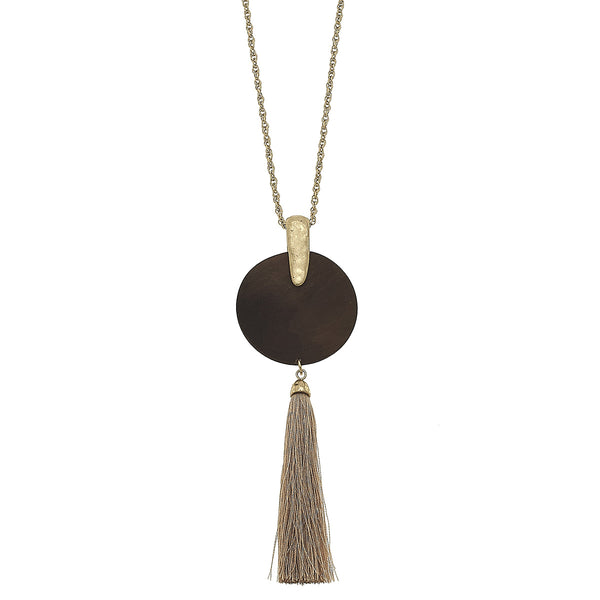 Tassel Wood Disc Pendant Necklace by Crave