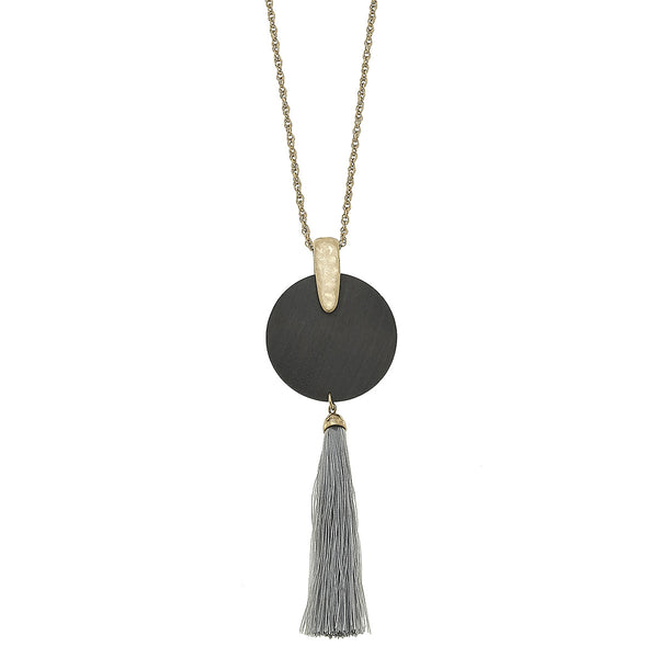 Tassel Wood Disc Pendant Necklace in Grey by Crave