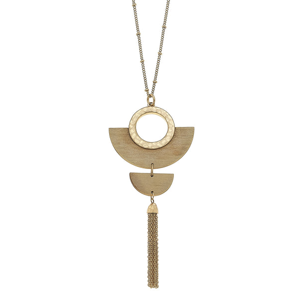 Wood Half Moon Tassel Pendant in Ivory by Crave