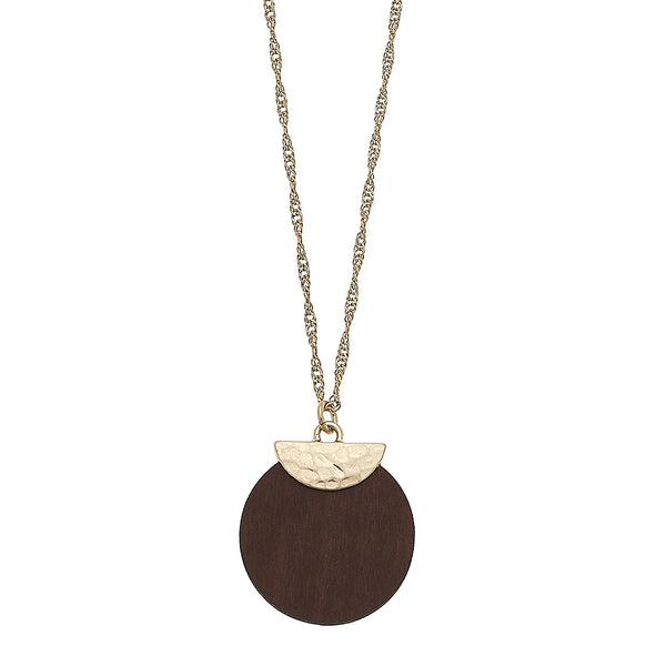 Wood Disc Pendant Necklace by Crave