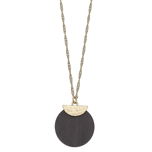 Wood Disc Pendant Necklace in Grey by Crave