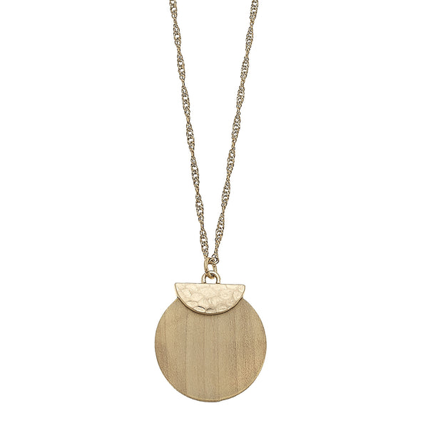 Wood Disc Pendant Necklace in Ivory by Crave