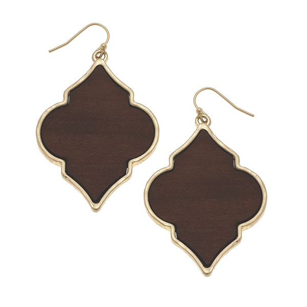 19857E-BR Wood Moroccan Earrings by Crave