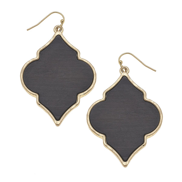 Wood Moroccan Earrings in Grey  by Crave