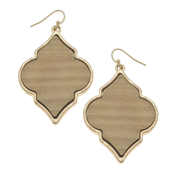 Wood Moroccan Earrings in Ivory by Crave