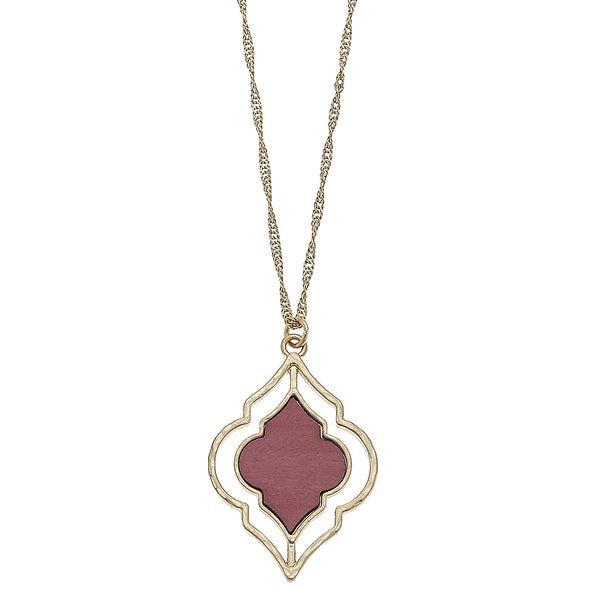 Wood Moroccan Pendant in Pink by Crave